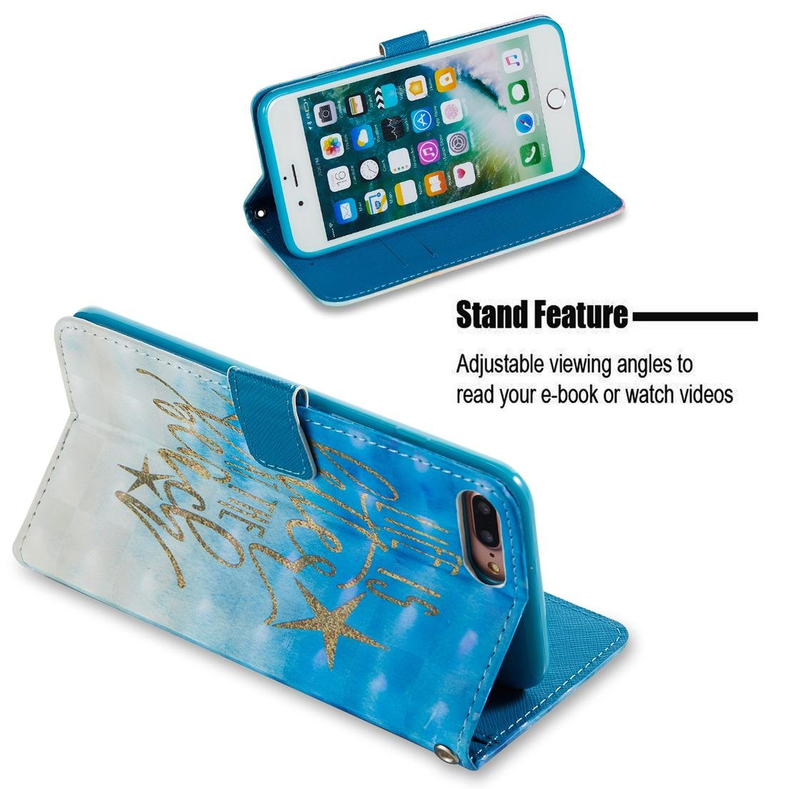 Amazon.com : iPhone 7 Plus Case/iPhone 8 Plus Case, Durable Slim Wallet Case Cover Pu Leather Lightweight Card Holder Shock Proof Wrist Strap Kickstand Flip ...