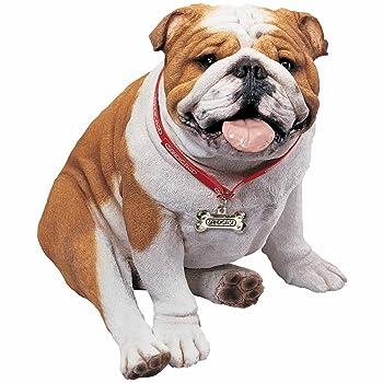 life-size bulldog statue sitting