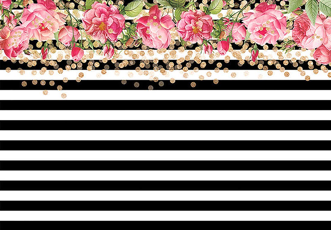 Sensfun Pink Rose Flower Black White Gold Stripes Dots Photography Backdrop Pictorial Cloth Computer Print Birthday Party Wedding Photo Studio Booth 7X5FT