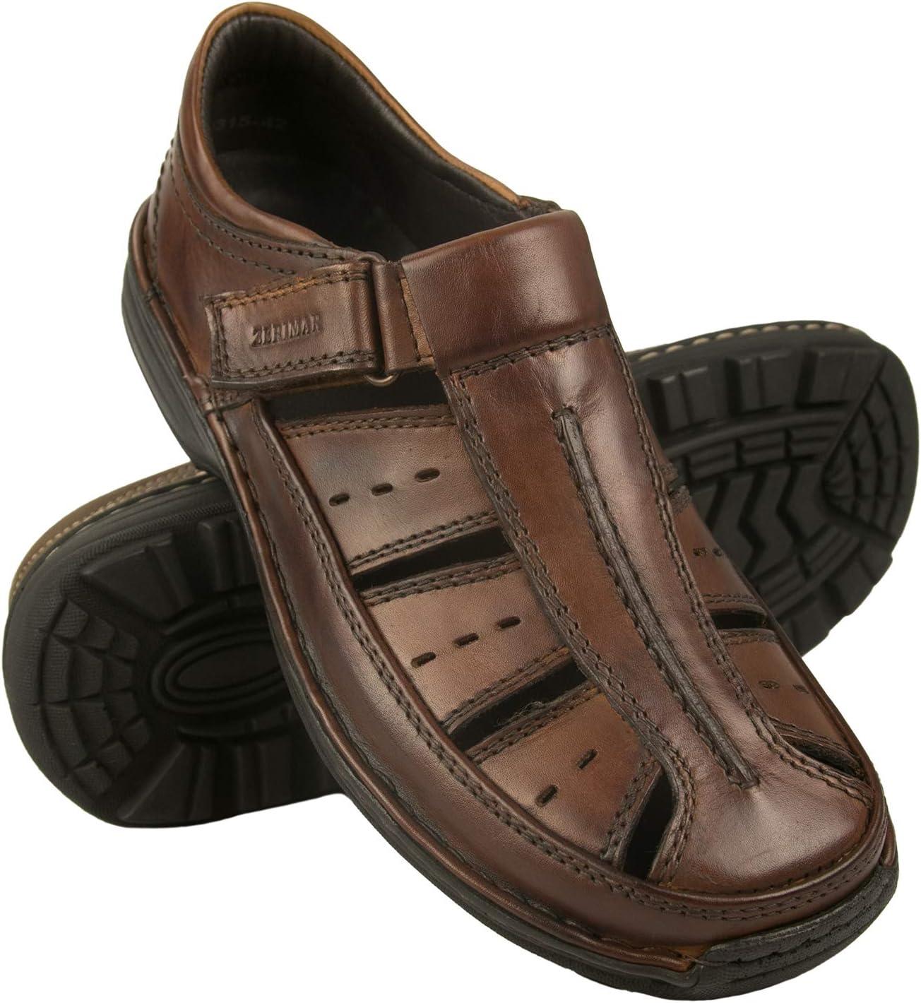 Zerimar leren sandalen | Sandalen Man | Trekkingsandalen heren | Sandalen voor heren Hiking | Leren sandalen | Zomersandalen heren Cognac