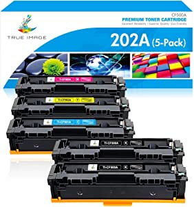 True Image Compatible Toner Cartridge Replacement for HP 202A CF500A 202X HP Laserjet Pro MFP M281fdw M281cdw M254dw M281fdn M254dn M254nw M281 Toner Printer Ink (Black Cyan Yellow Magenta, 5-Pack)