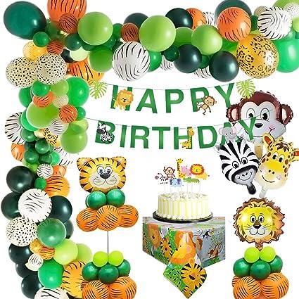 Mmtx Jungle Verjaardag Versiering Kinderen Verjaardag Versiering Safari Dier Gelukkige Verjaardag Decoratie Banner Met Latex Ballonnen Bos Dier Voor Jongens Verjaardag 1e 2e 3e 16e 18e 21e Amazon Nl Speelgoed
