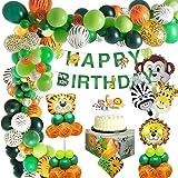 MMTX Selva Fiesta de cumpleaños decoracion Niño-Feliz cumpleaños feliz con Globos de latex y Safari Bosque Animal globos…