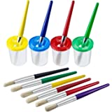 Shappy 4 Pieces Spill Proof Paint Cups in 4 Colors and 10 Pieces Assorted Colored Brushes Set