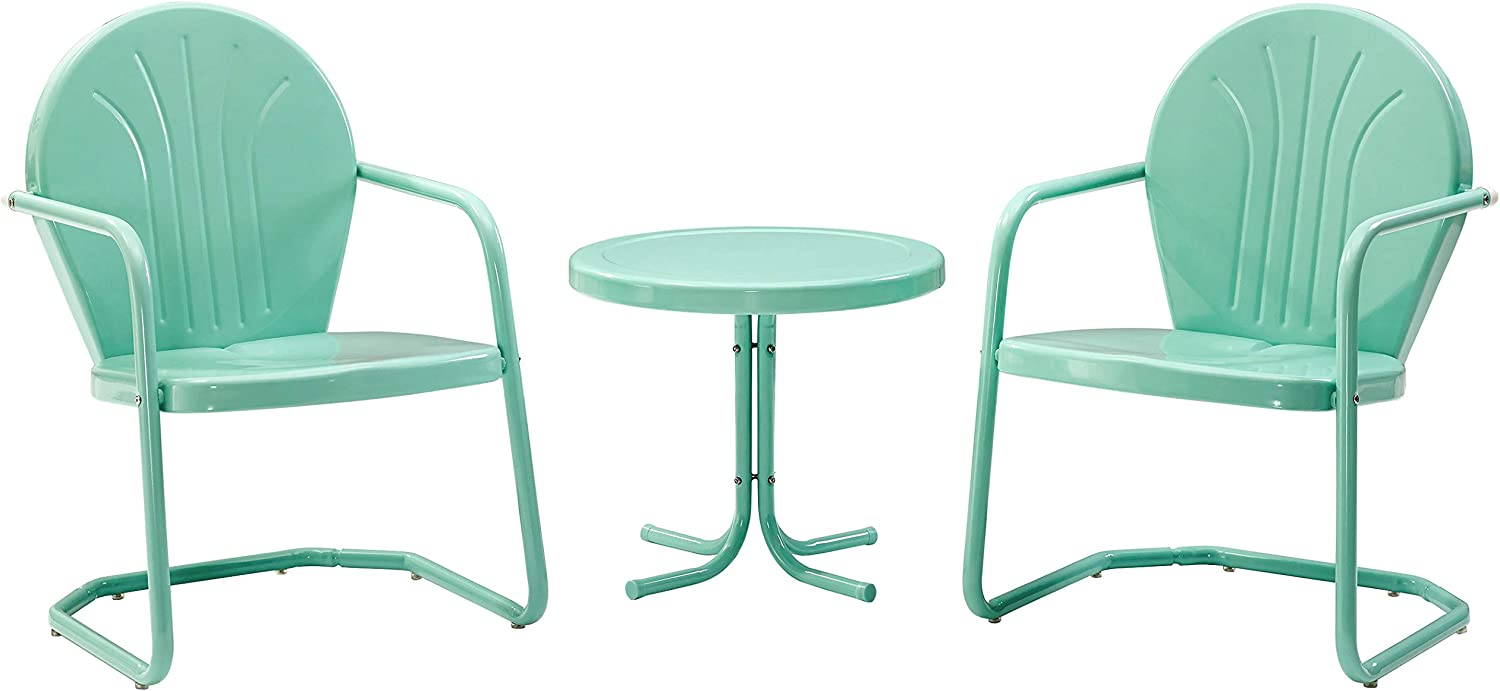 Crosley Furniture KO10004AQ Griffith 3-Piece Retro Metal Outdoor Seating Set with 2 Chairs and Side Table, Aqua