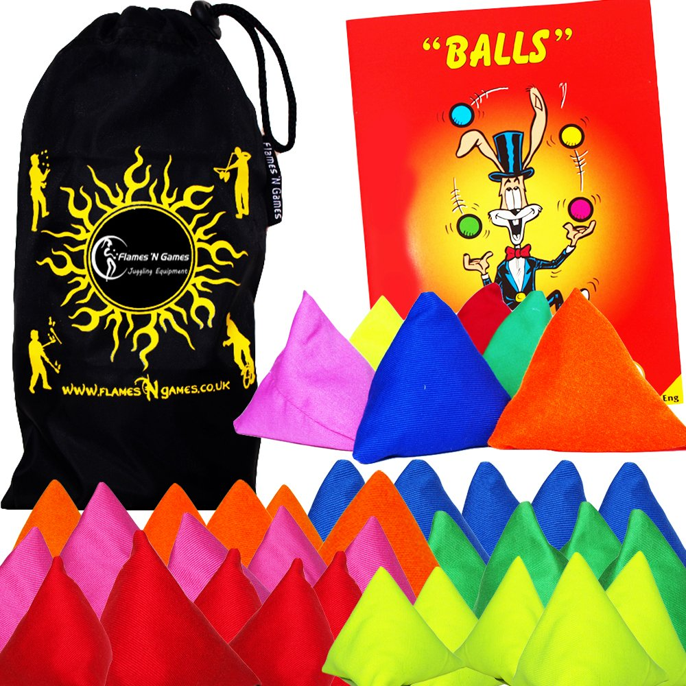 5x Tri-It Juggling Balls - Set of 5 Pyramid Juggling Sacks Bean Bags For Kids & Adults + + Mr Babache Ball Juggling Book of Tricks + Fabric Travel Bag. (Blue) Flames N Games