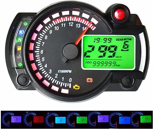 GZCRDZ/® Veloc/ímetro digital para motocicleta LCD de 7 colores ajustables con retroiluminaci/ón od/ómetro para motocicleta de 2,4 cilindros y 1300 r//min