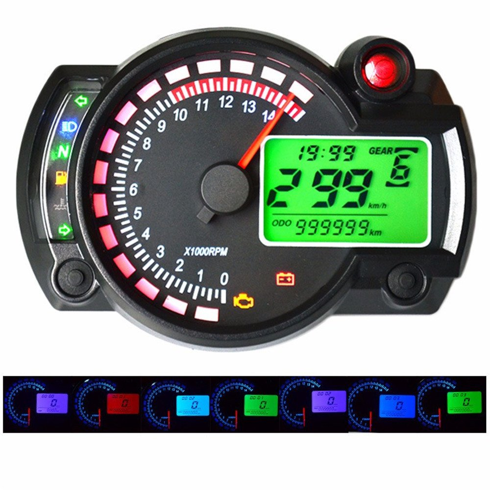 GZLMMY 299 MPH/KPH 7 Color Ajustable Moto Tacó metro Digital Velocí metro LCD Digital Odó metro Universal Para Moto China