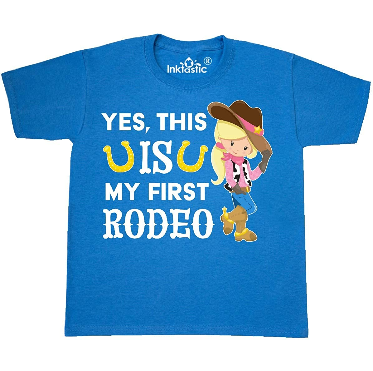 - Yes, This Is My First Rodeo- Cowgirl In Hat And T-shirt 3561f