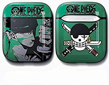 Cool Cartoon Soft TPU AirPods Case Cover Shockproof Protective for Apple Airpod 2 1 Wireless Charging Box   Anime Manga Zoro Anti-Lost Keychain Bag Decor (Zoro)
