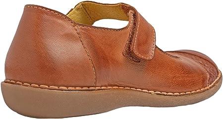 Chacal Shoes - Bailarinas en Piel - Máximo Confort – Merceditas con sujeción Firme - Fácil Calzado - Bailarinas con Cierre de Velcro - Colores Cuero y Jeans – Tallas EU 36 a EU 41
