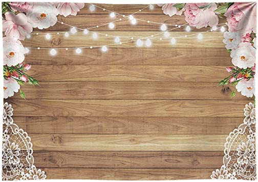 Amazon Com Funnytree 7x5ft Soft Fabric Flowers Wood Lace Rustic Backdrop Durable No Wrinkle Wedding Floral Photography Background Wooden Board Floor Bridal Shower Baby Birthday Party Banner Photo Studio Props Camera