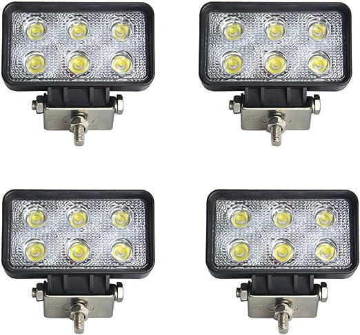 Brightum 18w Work Light Arbeitsscheinwerfer Led Nebelscheinwerfer Rücklicht Licht Vorne Und Hinten Ecc Fahrzeuge Offroad Boot Traktor Lkw Fahrzeuge Industrielle 12 V 24 V 4 Stück Beleuchtung