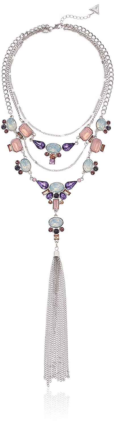 Silver GUESS Womens Statement Necklace with Stones One Size