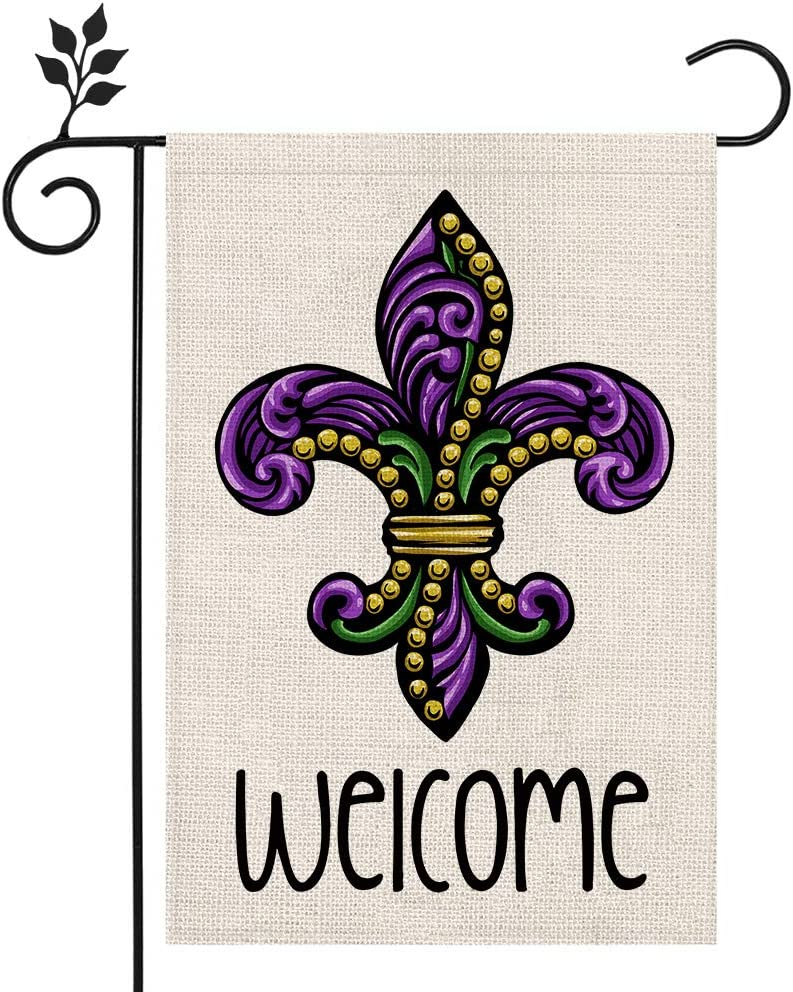 CROWNED BEAUTY Mardi Gras Fleur de Lis Welcome Garden Flag 12×18 Inch Small Beads New Orleans Vertical Double Sided Flag for Outside Yard Carnival Celebration Farmhouse Décor CF033-12