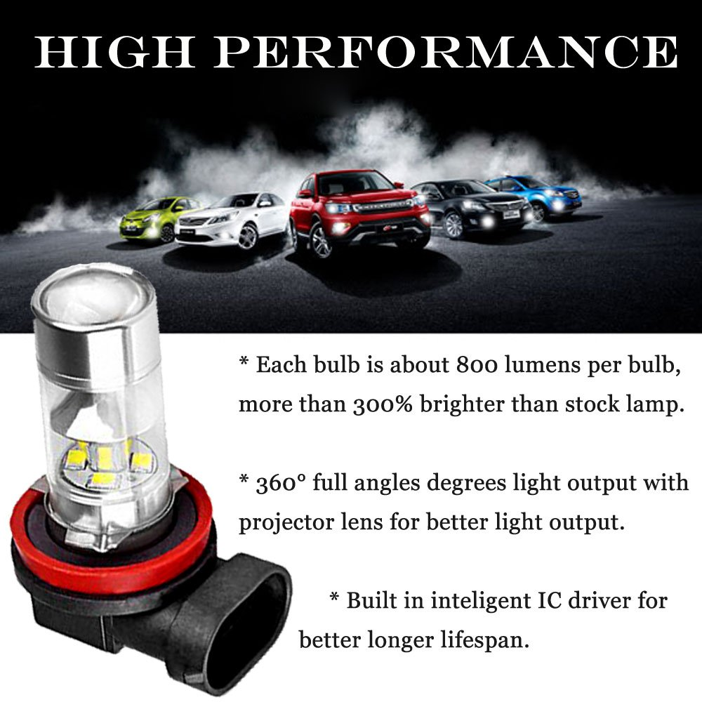 Halogen DRL Fog Light Replacement H11//H8, Cold White Bonlux LED Car H11 H8 Fog Driving Light 360 Degree Led Car Driving Light Fit for Daytime Running Light or Fog Lights Replacement