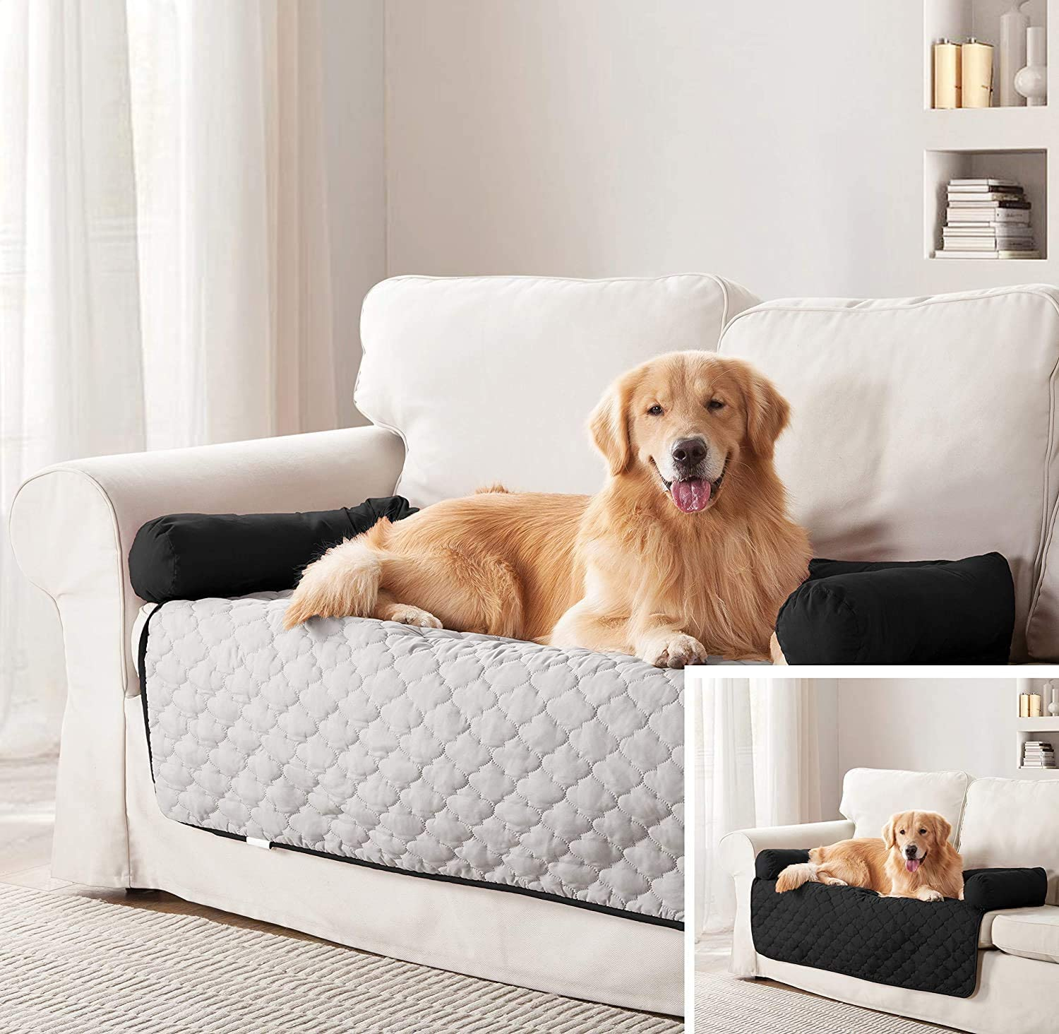 Pet Furniture Cover - Sofa Couch Cover Two-Tone Reversible Water-Resistant Living Room Furniture Cover Protector Pet Bed for Dogs and Cats (Silver/Black, Sofa)