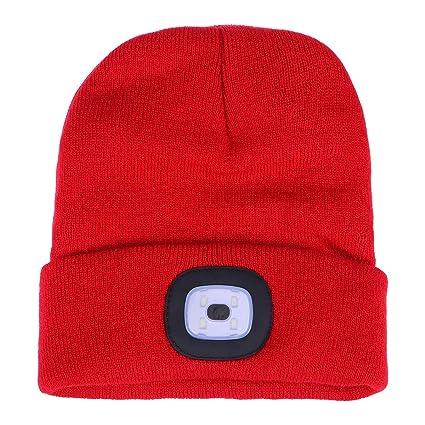 d974c48053e25 LIOOBO LED Knitted Beanie Hat Headlamp Flashlight Cap Unisex Winter Warm Beanie  Hat Rechargeable Beanie Cap