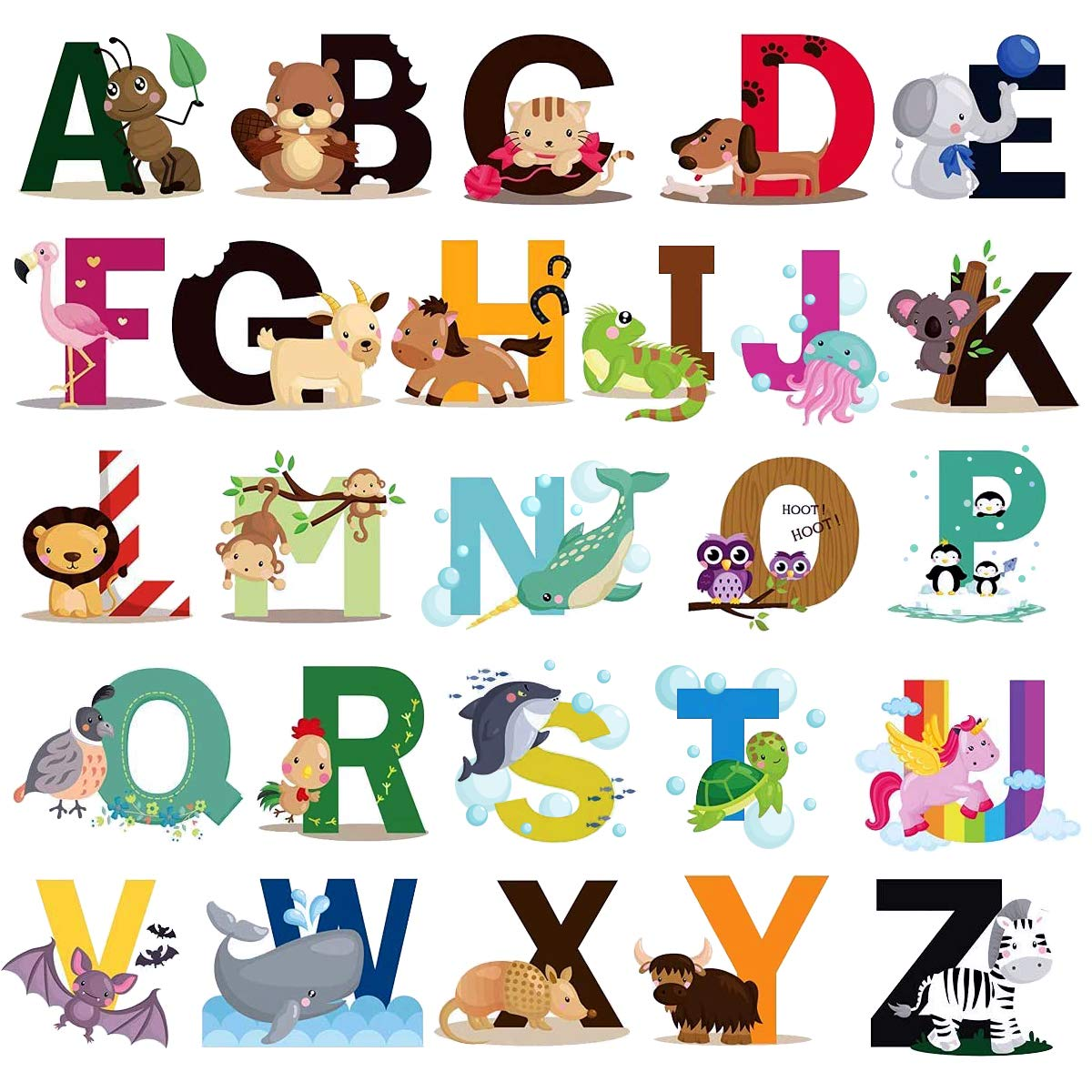 Animal Alphabet Wall Decals, ABC Stickers Alphabet Decals, Classroom Wall Decals, ABC Wall Decals, Wall Letters Stickers, Removable Animal Alphabet ABC Wall Stickers for Kids Nursery Room Decor