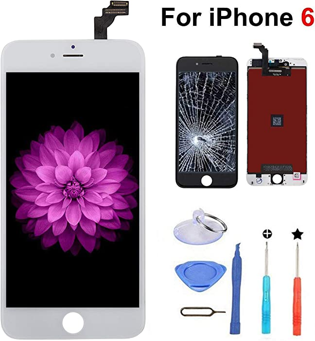 for iPhone 6 Screen Replacement White, LCD Display & Touch Screen Digitizer Frame Assembly Set with 3D Touch and Repair Tools
