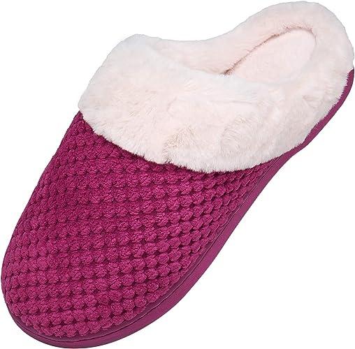 Zapatillas de Casa Hombre Mujer Invierno Pantuflas Antideslizantes CáLido Zapatilla de Estar por Casa Caliente Peluche Cómodo Zapatos Memory Foam