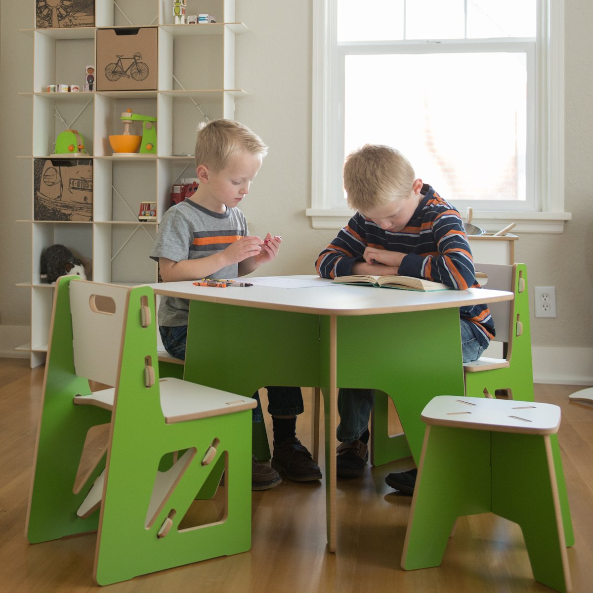 Amazon.com: Sprout Modern Kids Table and 2 Chair Set, Grey and White ...