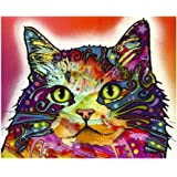 """Cat Red Colorful Animals Wall Decoration Art Image Printed on 11""""x14"""" Metal Ready to Hang"""