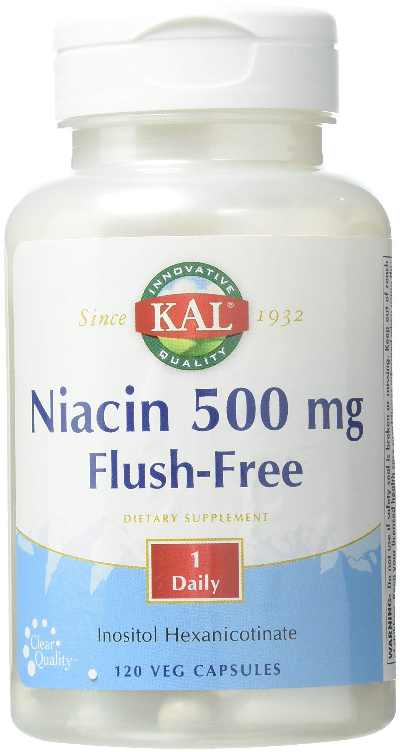 KAL Niacin Flush-Free Capsules 500 Mg, 120 Count