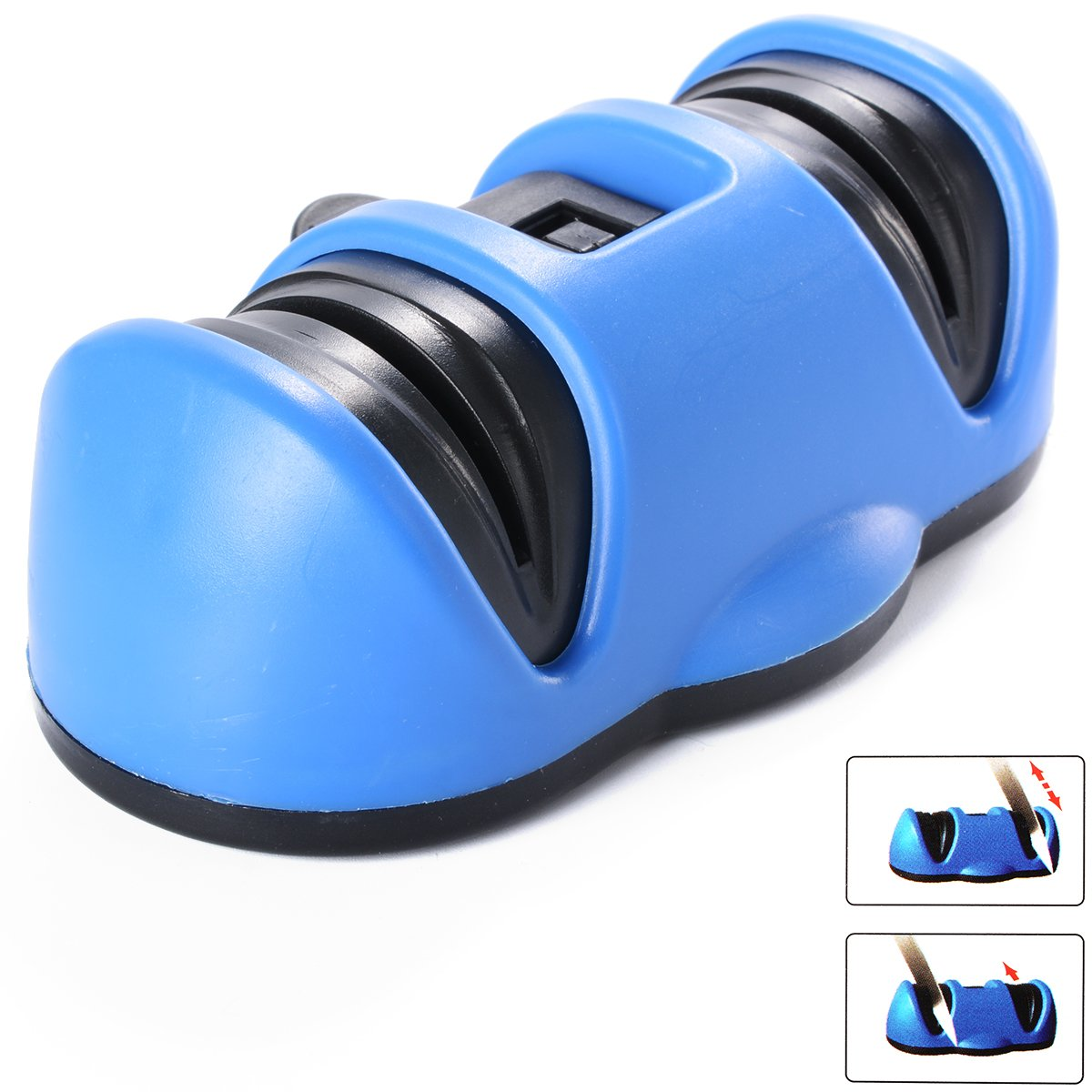 Xcellent Global Professinol Knife Sharpener Two Stage Sharpener With Safety Suction Grip Blue HG096 S-HG096L