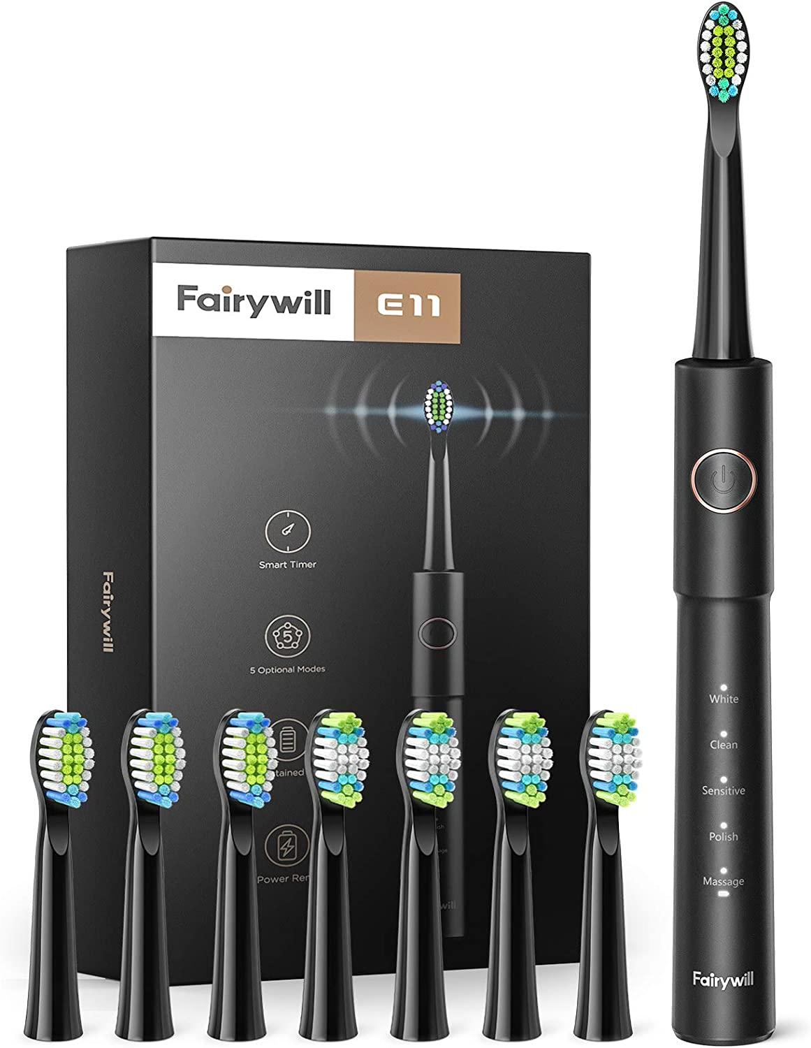 Fairywill Electric Toothbrush, Sonic Electric Toothbrush for Adults with 5 Modes 2 Hours Fast Charge