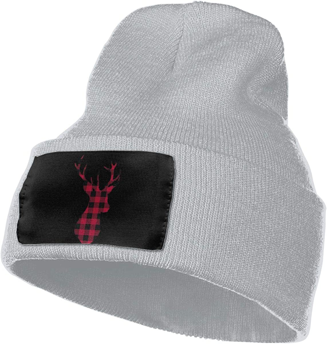 Buffalo Plaid Moose Warm Winter Hat Knit Beanie Skull Cap Cuff Beanie Hat Winter Hats for Men /& Women