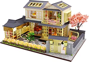 Cool Beans Boutique Miniature DIY Dollhouse Kit Wooden Japanese Home with Pergola and Yard, with Dust Cover (English Instructions) L907Z (Japanese Home with Pergola)