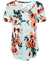 MIOIM Womens Trendy Floral Short Sleeves Ladies Summer Casual Tops T-Shirt Blouse