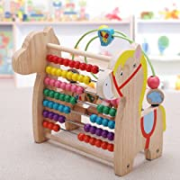 Emob Wooden Early Learning Horse Shaped Designed Abacus Beads Roller Maze Multi Functional Toy