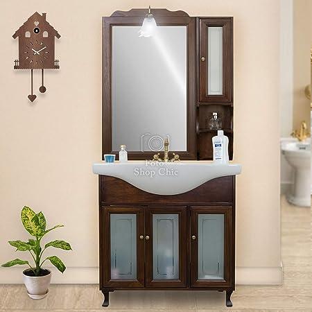 Specchio Bagno Arte Povera.Shop Chic Arredo Mobile Bagno Noce Arte Povera 85cm Completo Di Specchio E Pensile Amazon It Casa E Cucina