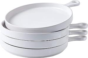 Bruntmor Set of 4, Porcelain 8 Inch Dinner Plates, Elegant Matte Serving Dinner Plates With Skillet Look Handle for Pizza, Steak, Pasta, Salad, Porcelain Dinner Plates Serving Trays, White