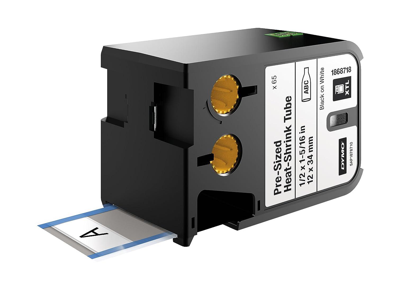 Dymo B0140YZP4W Dymo 1868718プレサイズの熱収縮チューブ、12mm×34mm、黒色の白 B0140YZP4W, 草加市:27c16dce --- harrow-unison.org.uk