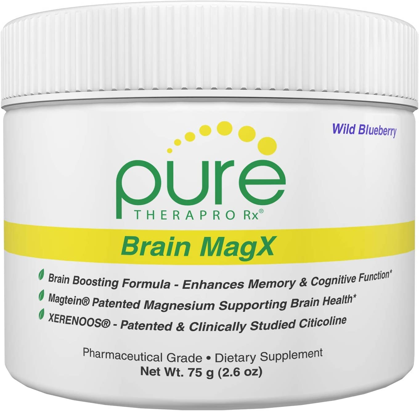 Brain MagX - Wild Blueberry 30 Servings   Nootropic Brain Boosting Formula Containing: Magtein, Xerenoos (Citicoline) & Huperzine A   Enhance Focus, Boost Concentration & Improve Memory   Vegan