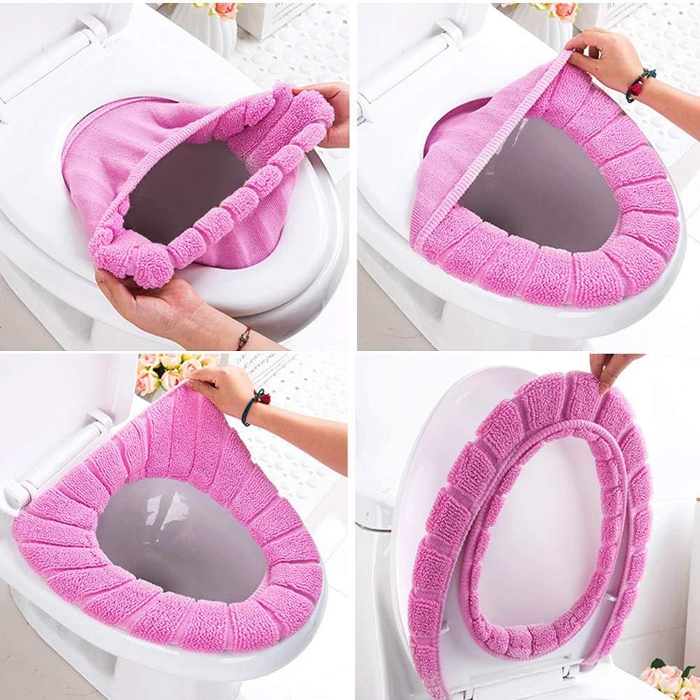 5 st/ücke verschiedene farbe Bad Weich Dicker W/ärmer Dehnbar Waschbar Tuch Einfache Installation /& Reinigung Komfortable Toilettensitzabdeckung Pads