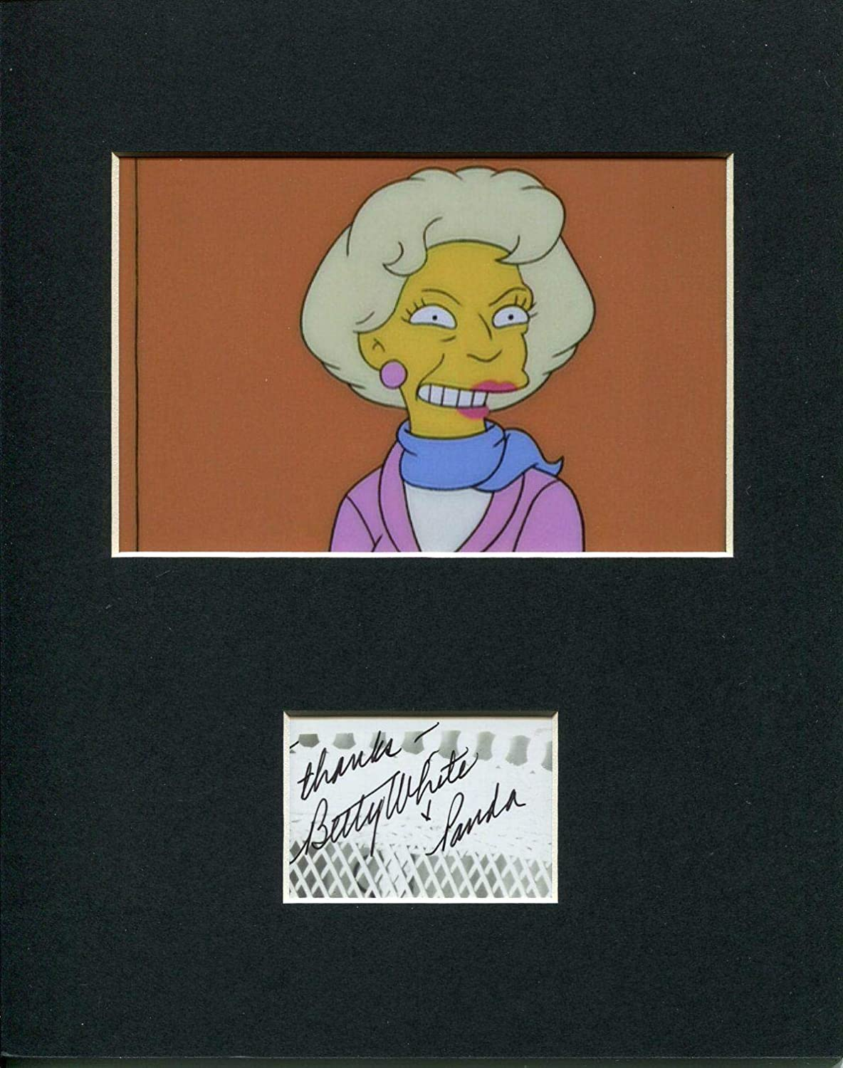 Betty White Golden Girls The Simpsons Rare Signed Autograph Photo Display HollywoodMemorabilia