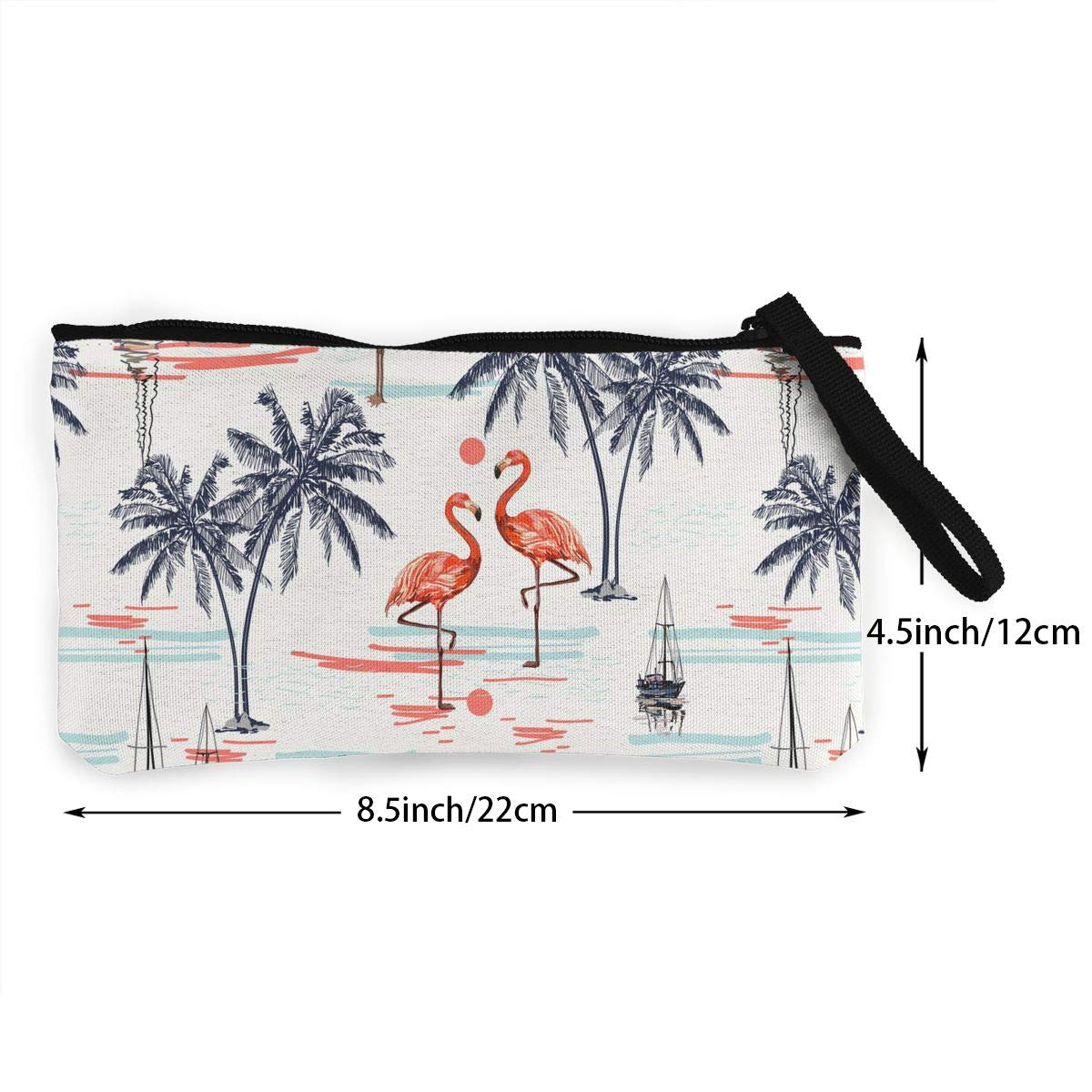 Coconut Palm Trees Pattern Canvas Change Coin Purse Assorted Change Cash Bag With Zip