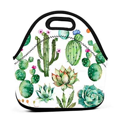 Watercolor Elements Succulent Plants Cactus Insulated Neoprene Lunch Bag Tote Handbag lunchbox Food Container Gourmet Tote Cooler warm Pouch For School work Office: Kitchen & Dining [5Bkhe0702071]