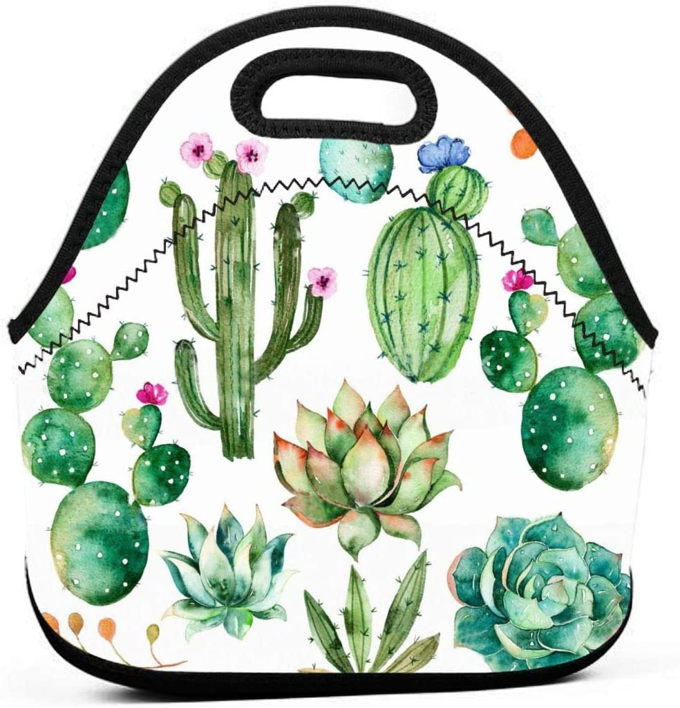 Watercolor Elements Succulent Plants Cactus Insulated Neoprene Lunch Bag Tote Handbag lunchbox Food Container Gourmet Tote Cooler warm Pouch For School work Office
