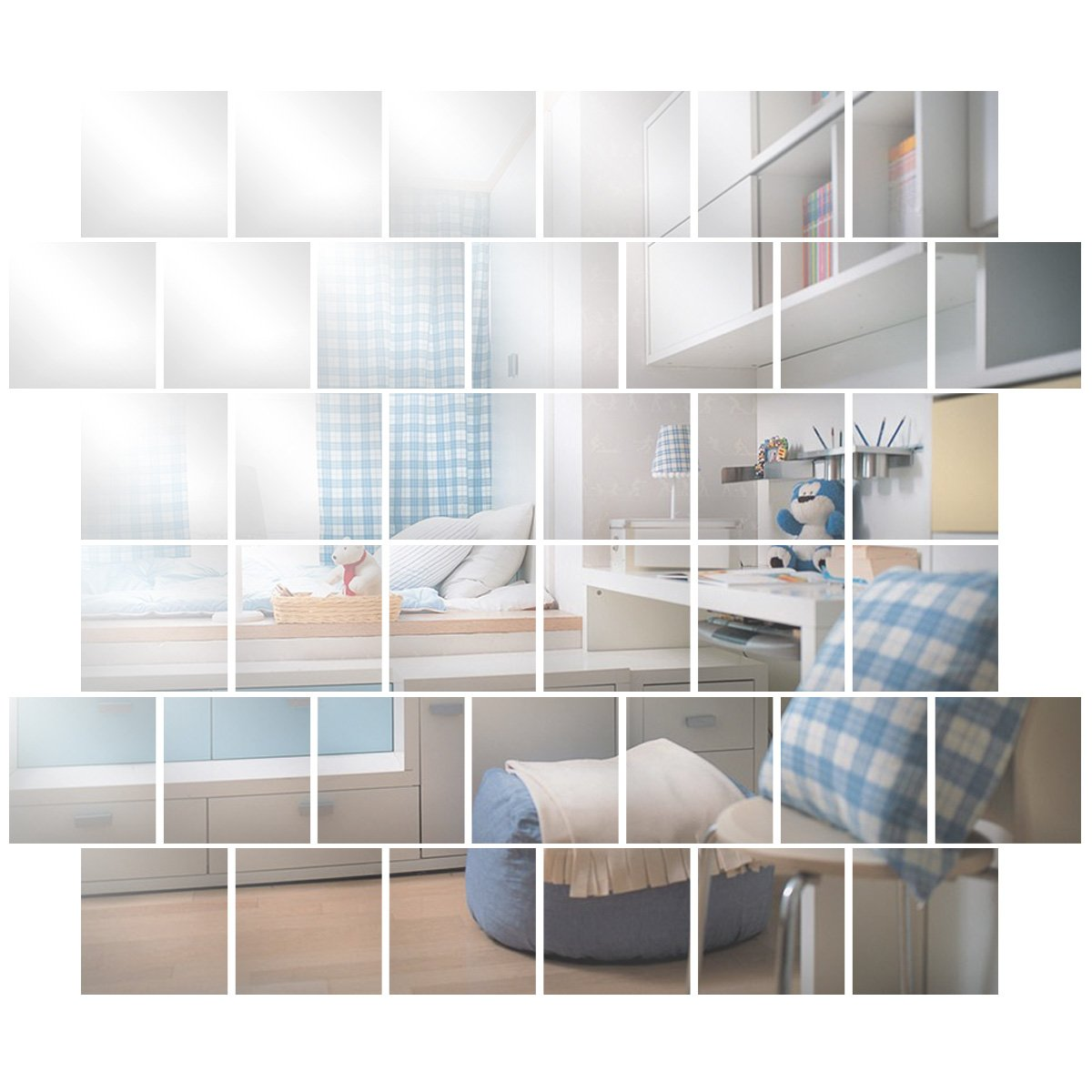 32pcs Self Adhesive Mirror Tiles Kitchen Wall Sticker Stick on 0.2/mm Decor SurePromise Limited EXPSFD011772
