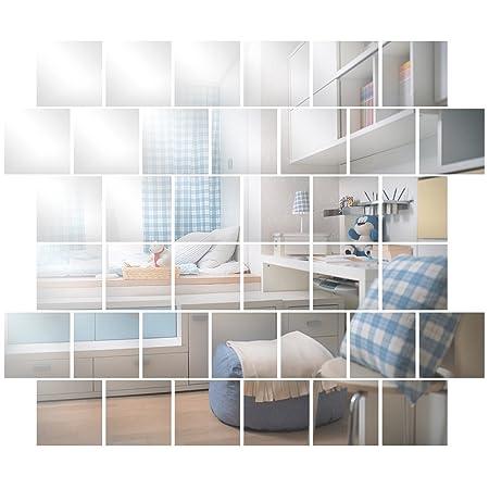 SurePromise Specchio MTB Adesivo da Parete,32 Pezzi Adesivi Murali Specchio  Quadrato,Quadrato Decorazione per Parete Muro Casa Armadio,Mosaico di ...