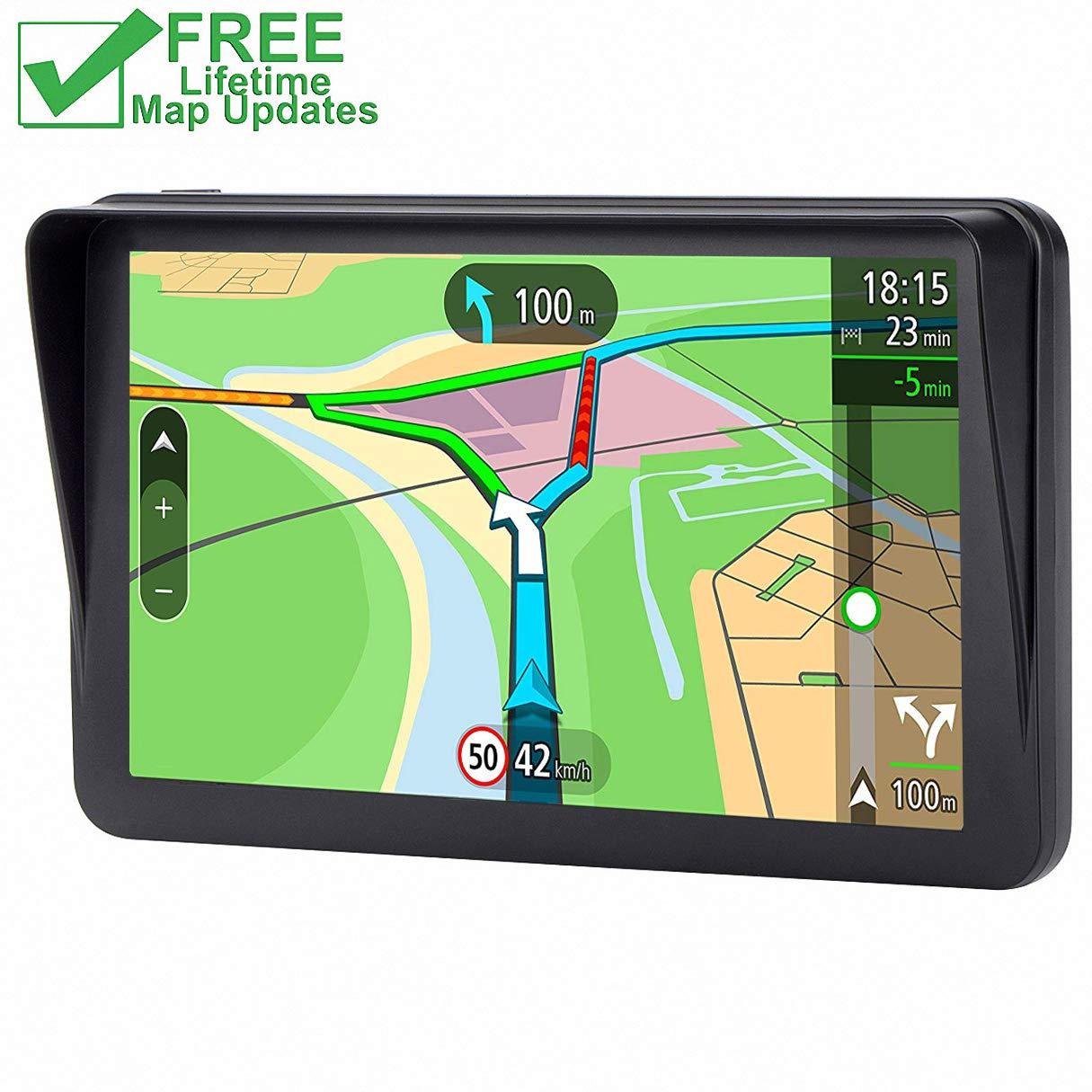 GPS for Car Vehicle GPS Navigator 7 inches SAT NAV Lifetime Map Update Spoken Turn-to-turn Navigation System for Cars
