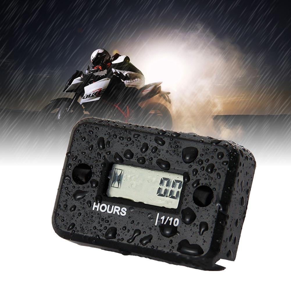 JZK /étanche Affichage LCD Compteur horaire num/érique Minuterie de jauge pour Quad Moto Motoneige motocross pit bike tondeuse /à gazon tracteur camion