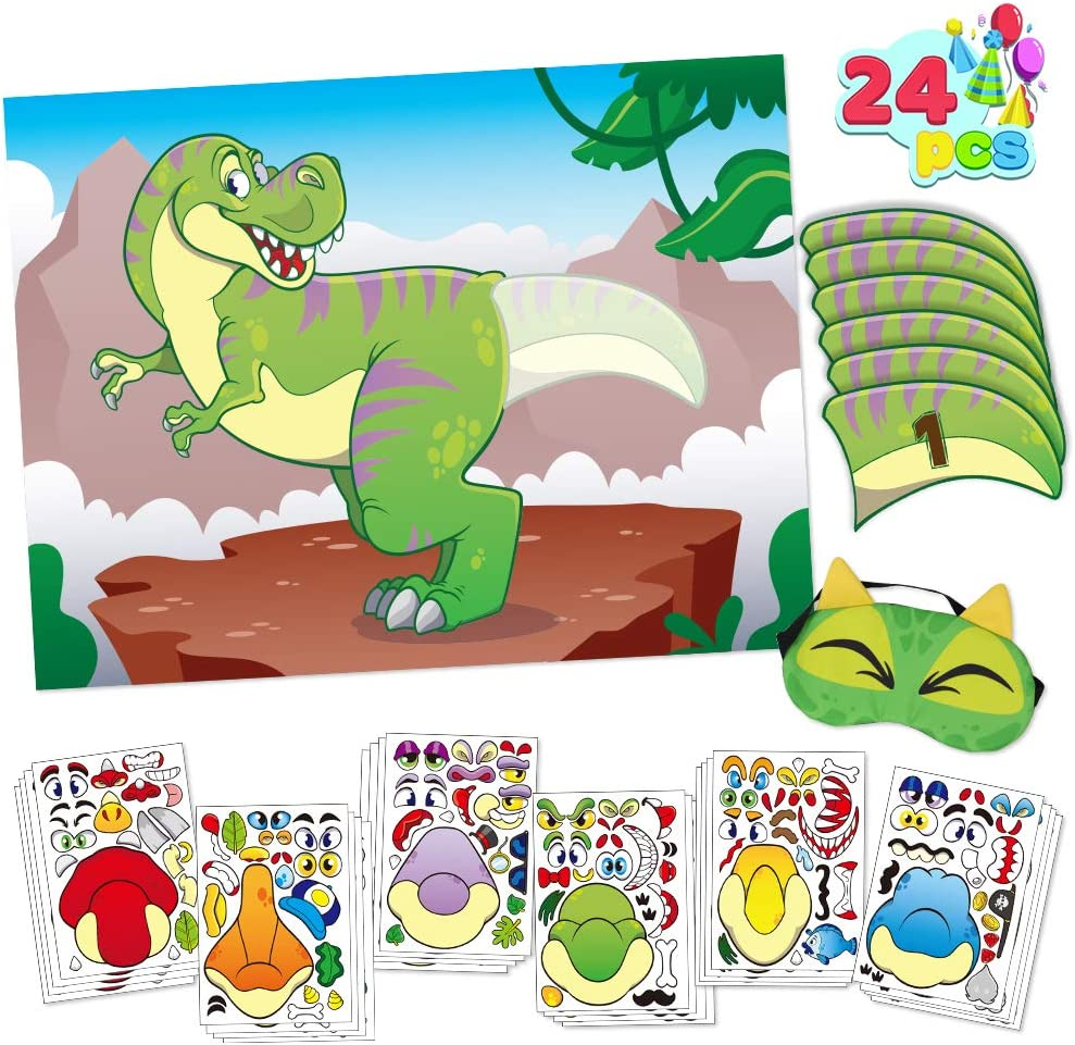 24 Dino Tails 1 Eye Mask and 24 pcs Make a Face Stickers for Dinosaur Party Favors Kids Birthday Party Supplies /& Decorations T-Rex Pin The Tail on The Dinosaur Party Game with a 28 x 21 Poster