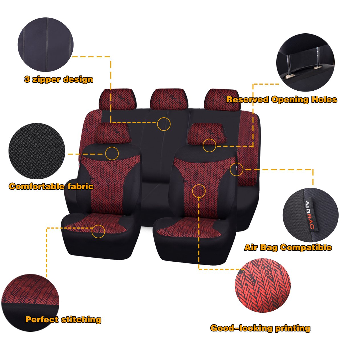 Perfect fit for suvs,sedans,trucks BLACK AND GRAY Airbag Compatible NEW ARRIVAL- CAR PASS Tire Series Universal Car Seat Cover With Reserved Opening Holes for headrest covers and selt belts