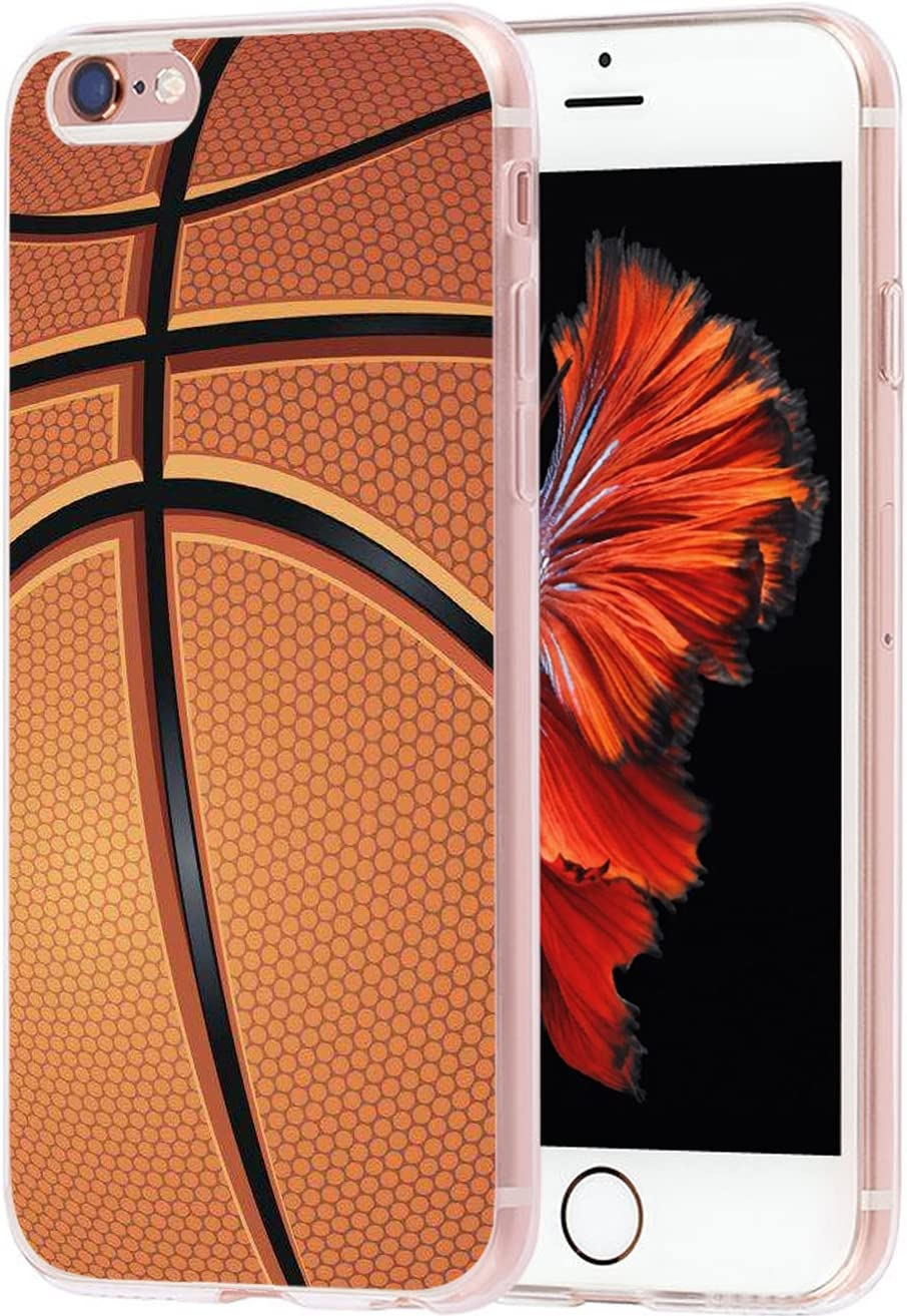 Case for Phone 6S Plus Basketball & Cover for 6S Plus & MUQR Skin Rubber Gel Silicone Slim Drop Proof Protection Protector Compatible with iPhone 6/6S Plus & + Basketball Sport Design Pattern